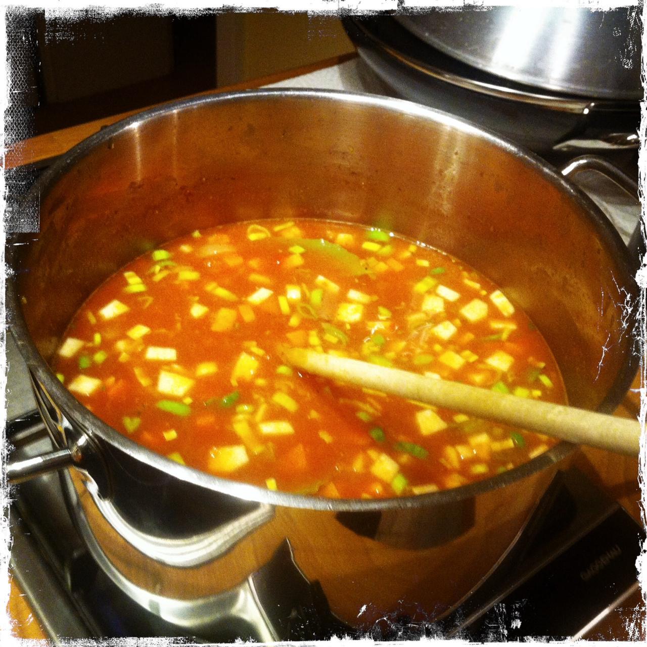 Alle Zutaten miteinander verrühren, aufkochen lassen und danach bei niedriger Temperatur ca. 2 Stunden köcheln lassen