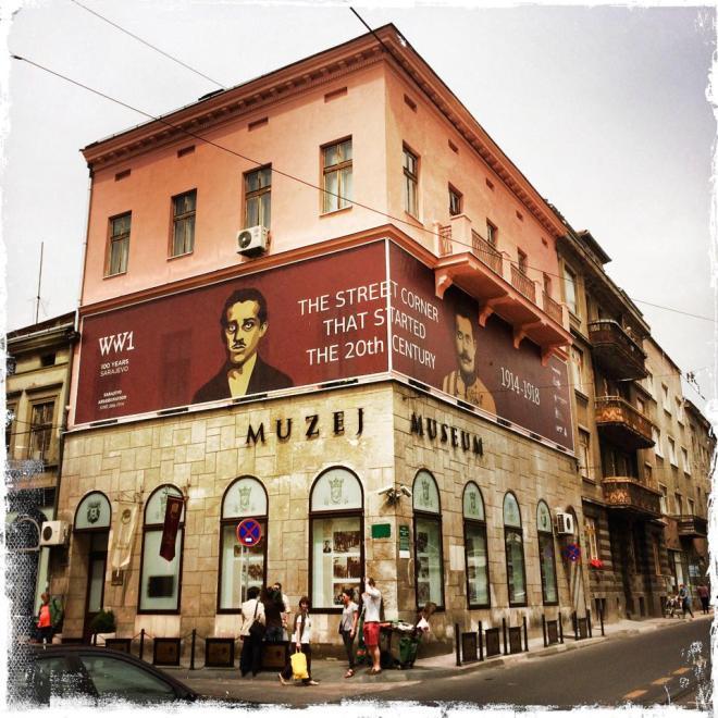 Die Stelle in Sarajevo, an dem das Attentat passierte