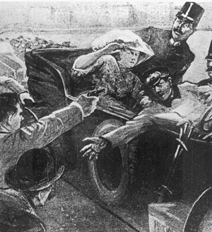 Gavrilo Princip shoots Franz Ferdinand and Sophie of Austro-Hungary
